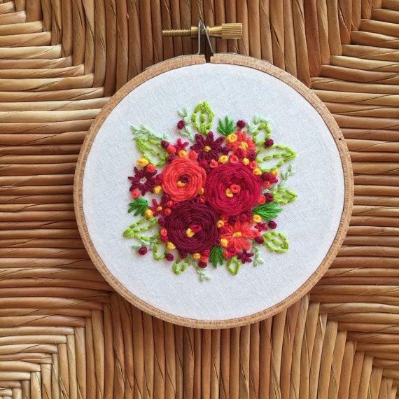 Floral Burst Embroidery Hoop Art  Hoop Art  by TheBarmyFoxShoppe