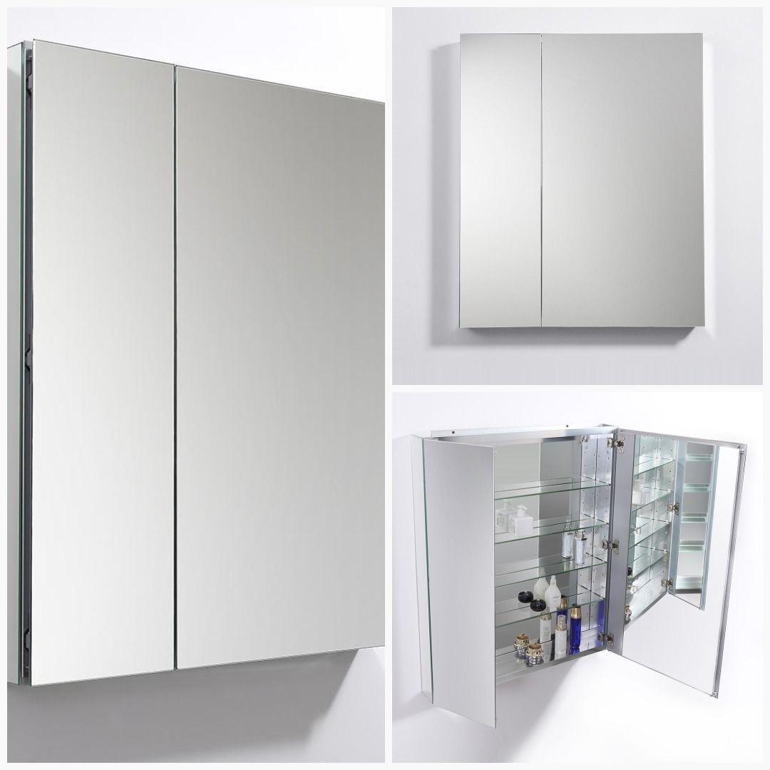 Fresca 30 Wide X 36 Tall Bathroom Medicine Cabinet W Mirrors Glass Shelves In Bathroom Bathroom Medicine Cabinet Glass Shelf Supports