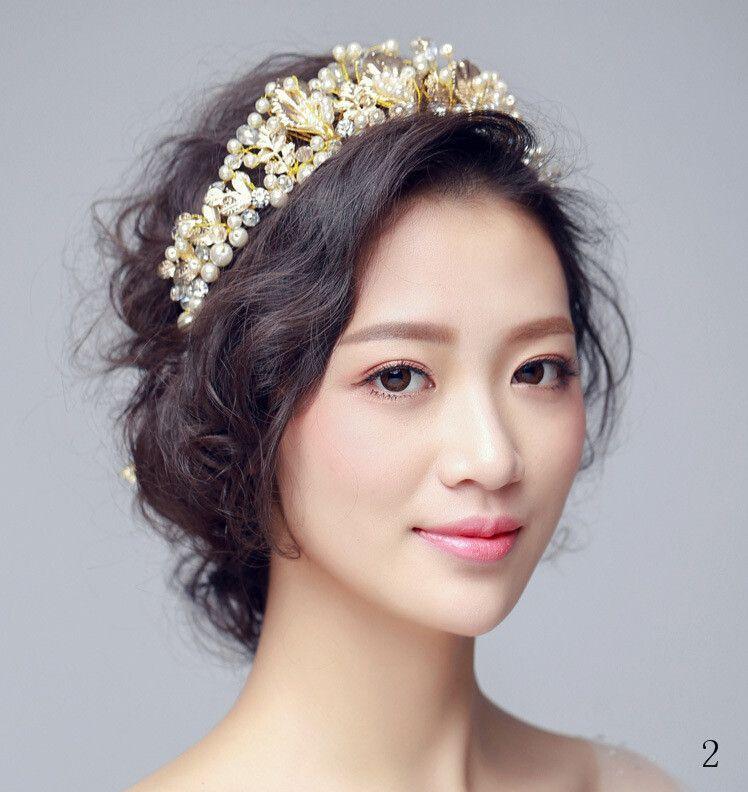 Luxury Crystal Pearls Bride Crown Wedding Accesories De Novia Para El Pelo for Hair Bride Ivory Girls Headwear New Arrivals