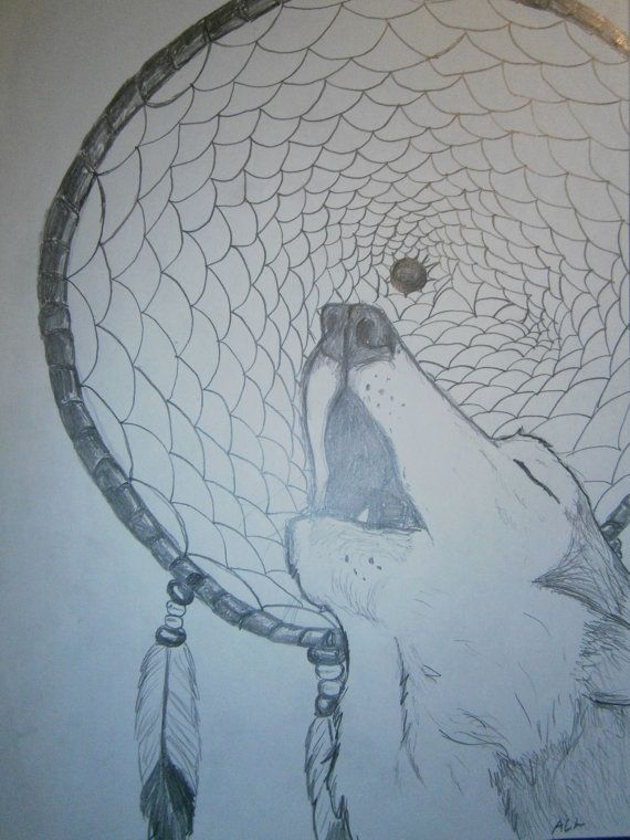 Howling wolf and dreamcatcher pencil drawing by sulkakissa on etsy €10 00