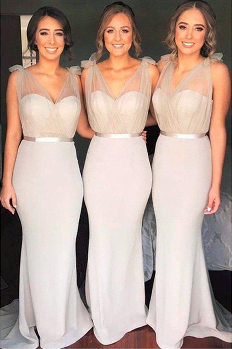 Cheap v neck mermaid long bridesmaid dresses with belt unique