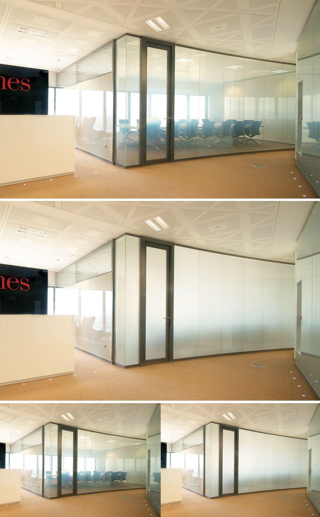 Privacy glass solution for high tech interior partitioning for Espacio interior