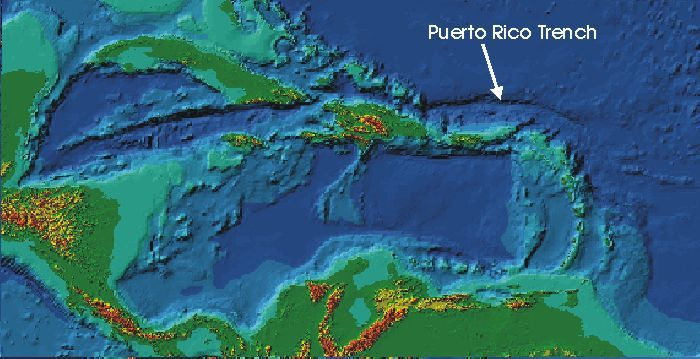 A Map Showing The Trench Final Project The Puerto Rico Trench