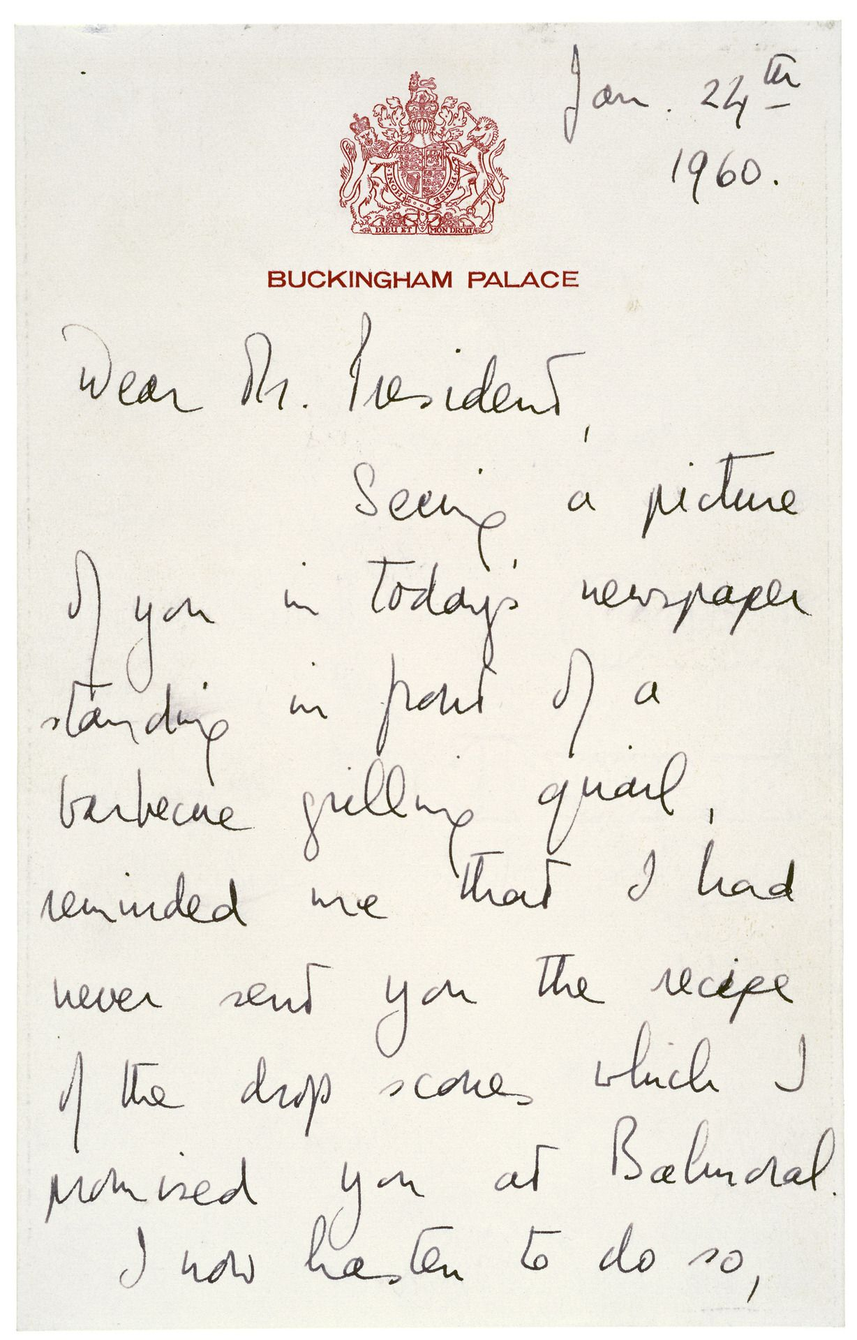 Queen Elizabeth S Letter To President Dwight D Eisenhower