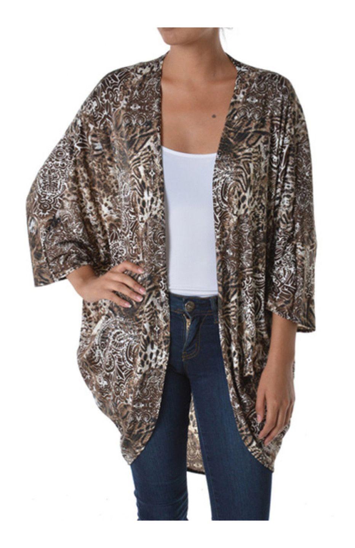 Draped Open Front Cocoon Kimono Cardigan   Bodilove Trendy Clothes ...