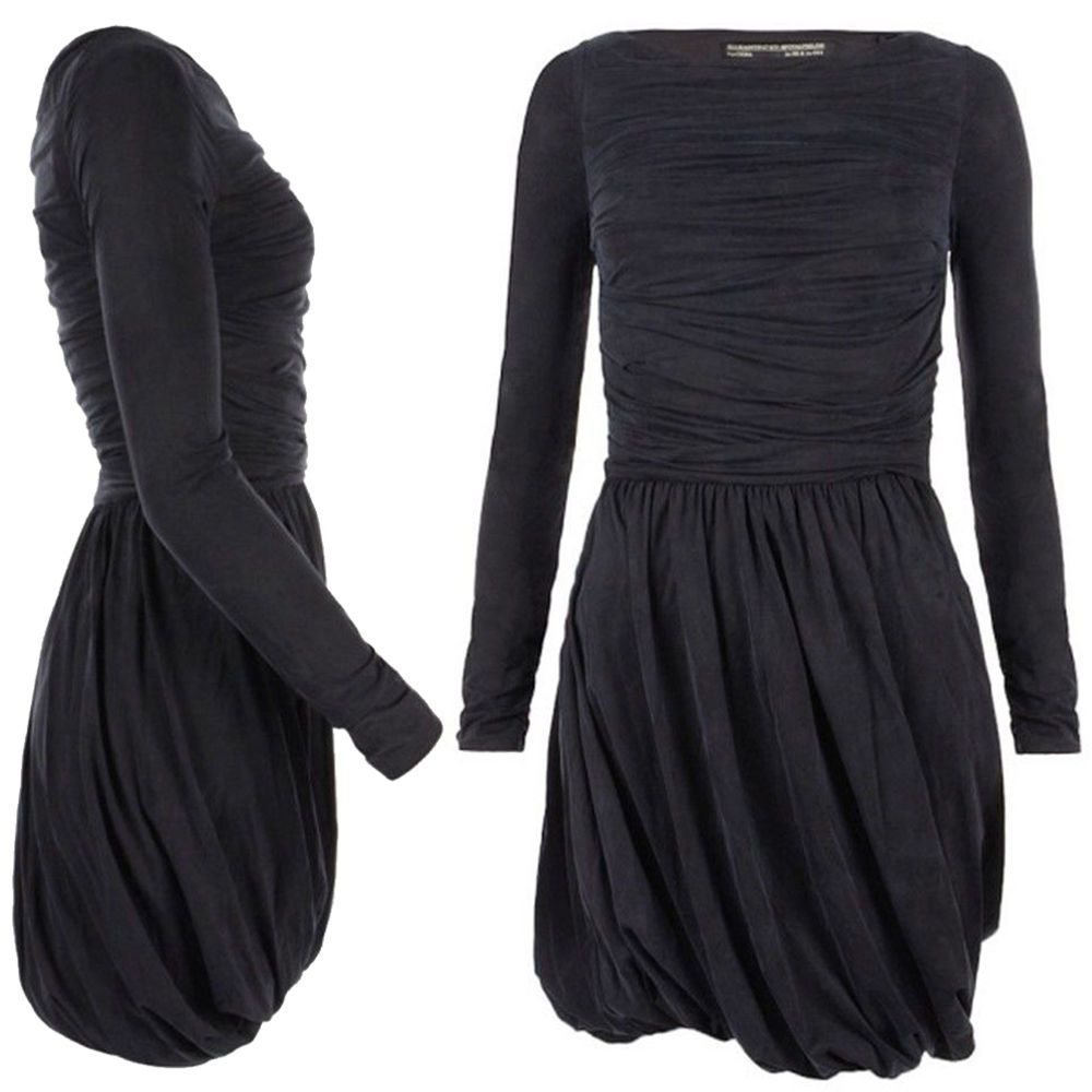 ALL SAINTS Char Dress Ruched Mini Skirt Bubble Pleated Jersey Boatneck  Black 2 6 50b989af6