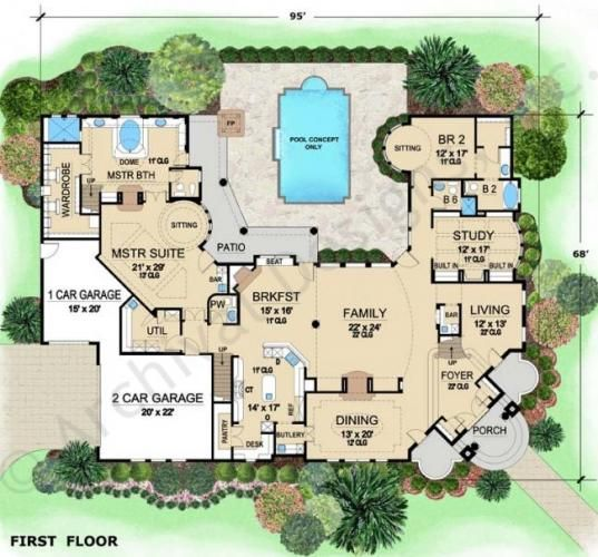 Villa visola mediterranean house plan luxury house for Italian villa floor plans