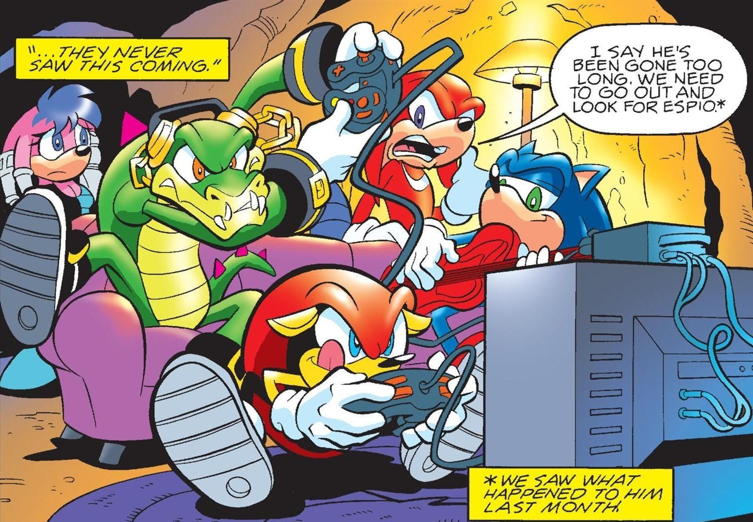Oh no... and of course Sonic's just sitting there carelessly strumming the guitar XD I play games like Mighty XD lol Mighty is awesome!