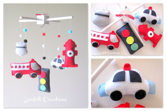 Baby Crib Mobile Fire Truck By