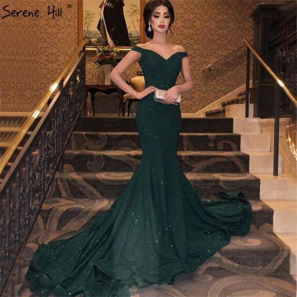 351 90 30 Off فساتين سهرة جذابة باللون الأخضر بدون الكتف متألقة على شكل قلب حورية البحر مطرز Mermaid Evening Dresses Bling Prom Dresses Prom Dresses Long