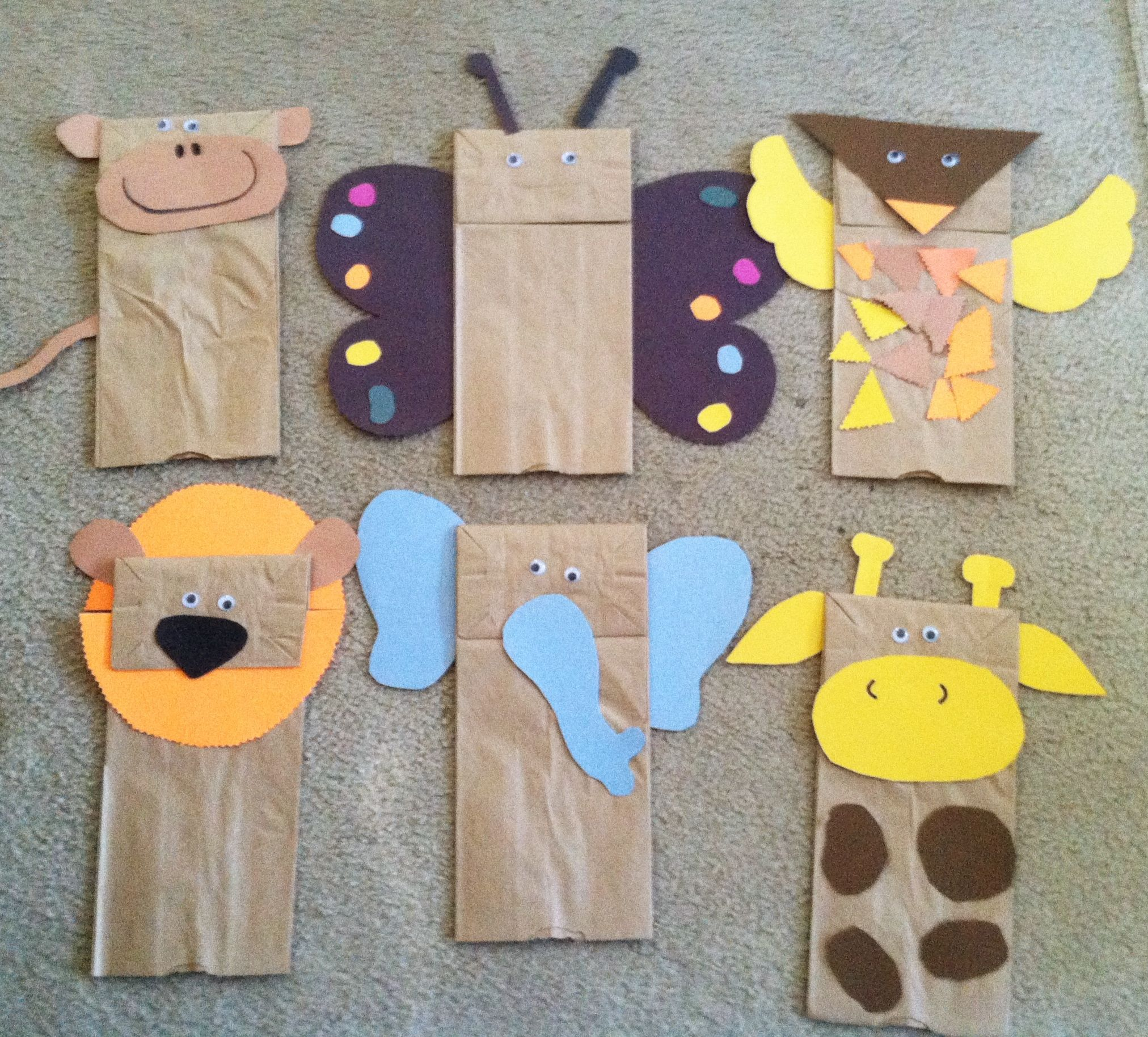 Brown Paper Bag Jungle Animal Puppets W Children S Book