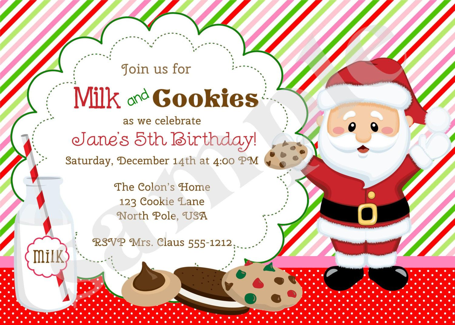 Milk and Cookies Invitation Invite Cookies with Santa Holiday Cookie ...