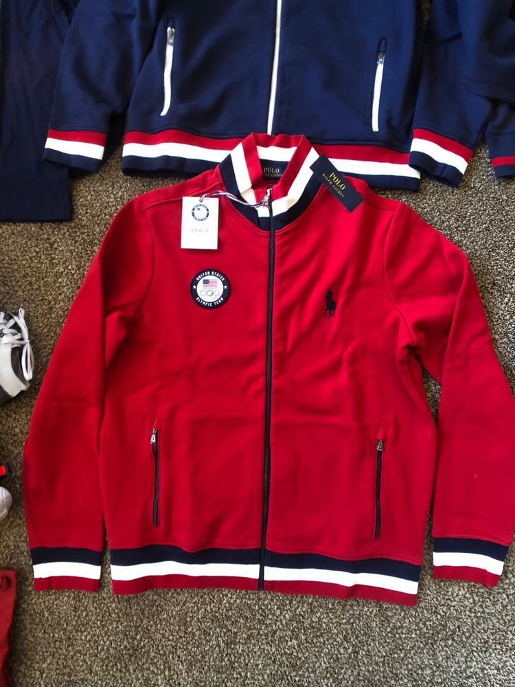 Ralph Lauren Polo 2018 Olympic Wear Full Zip Sweater Red Mens