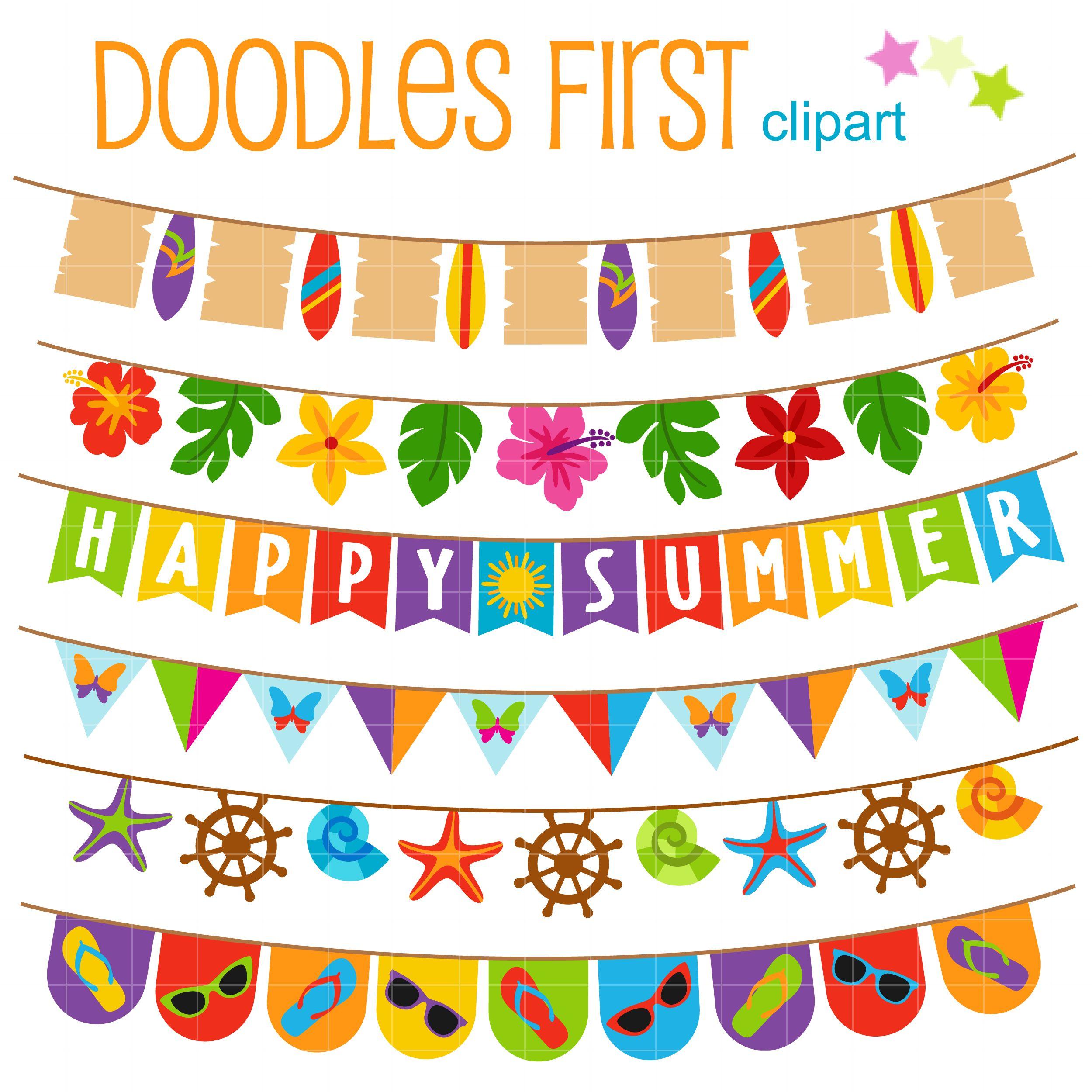 Happy summer buntings clip art set clip art happy