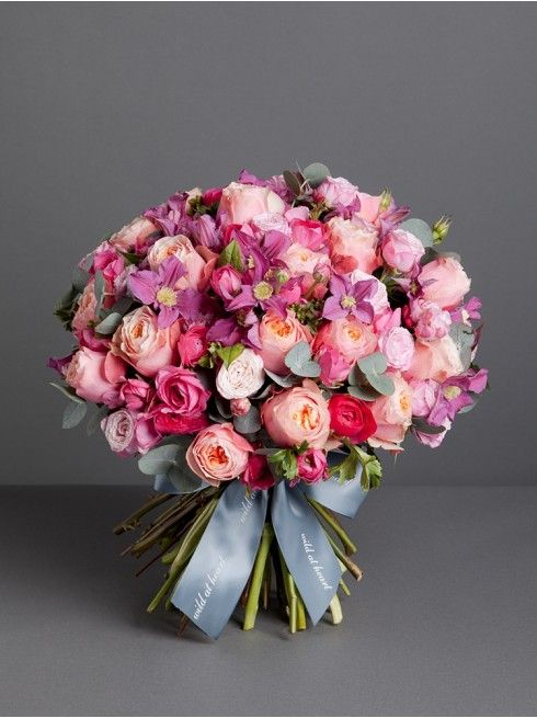 Wild At Heart Pimlico Bouquet This Gorgeous Is Made Up Of Pink And Peach Roses Spray Ranunculas Clematis Seasonal Foliage