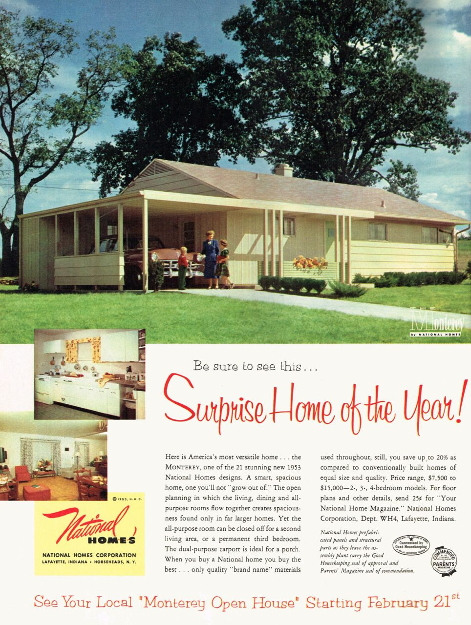 Surprise Home Of The Year The Monterey By National Homes 1953