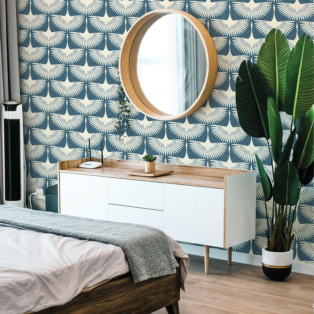 Tempaper Feather Flock Denim Blue Vinyl Peelable Roll Covers 56 Sq Ft Fe4027 The Home Depot Peel And Stick Wallpaper Powder Room Wallpaper Wallpaper Bedroom