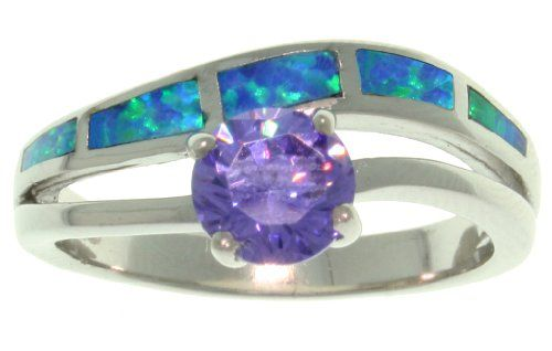 Jewelry Trends Sterling Silver Created Blue Opal and Purple Cubic Zirconia Double Row Ring >>> Check out this great product.