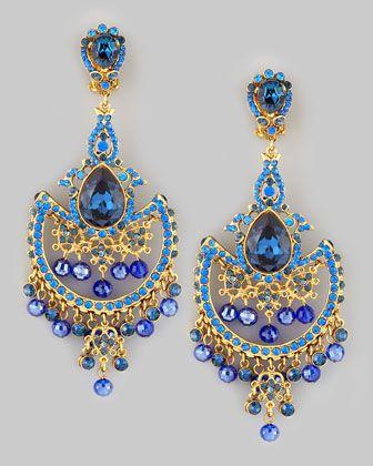 Dd Crystal Chandelier Clip Earrings Blue By Jose Maria Barrera At Neiman Marcus