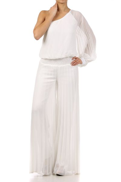 Top Shop White One Shoulder Jumpsuit With Wide Leg And Pleats My