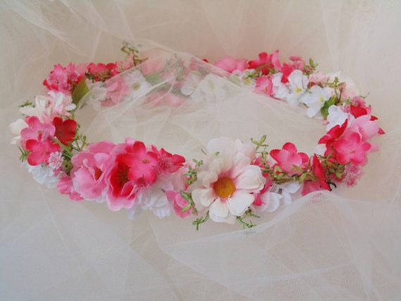 Pretty In Pink Spring Garden Flower Crown by BunniesMadeOfBread