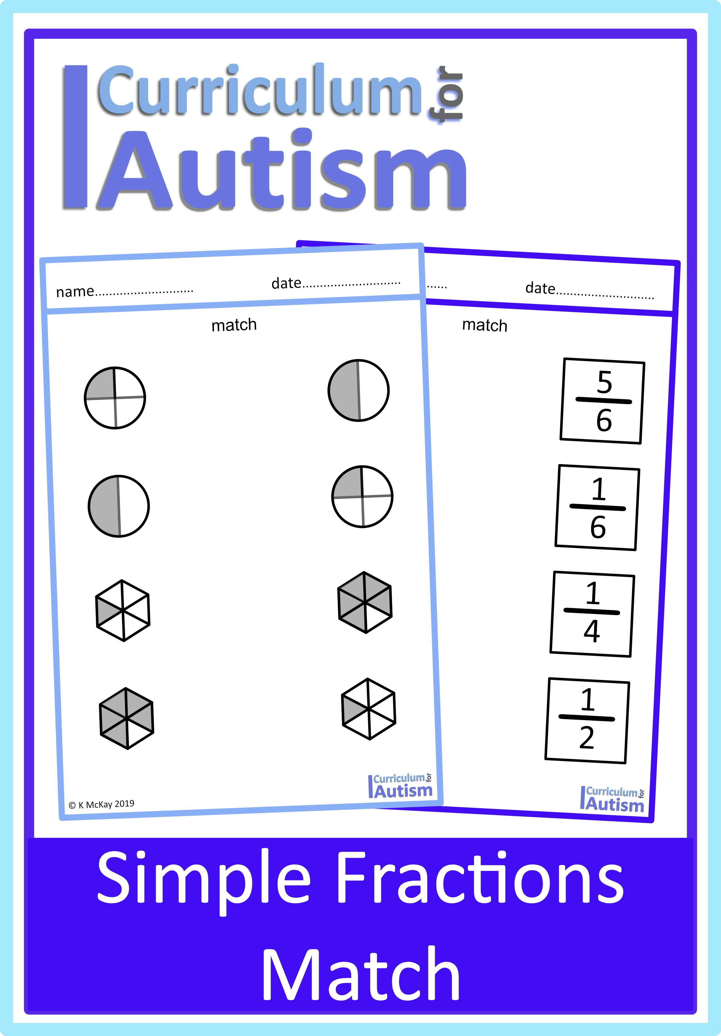 Fractions Of Shapes Match Worksheets