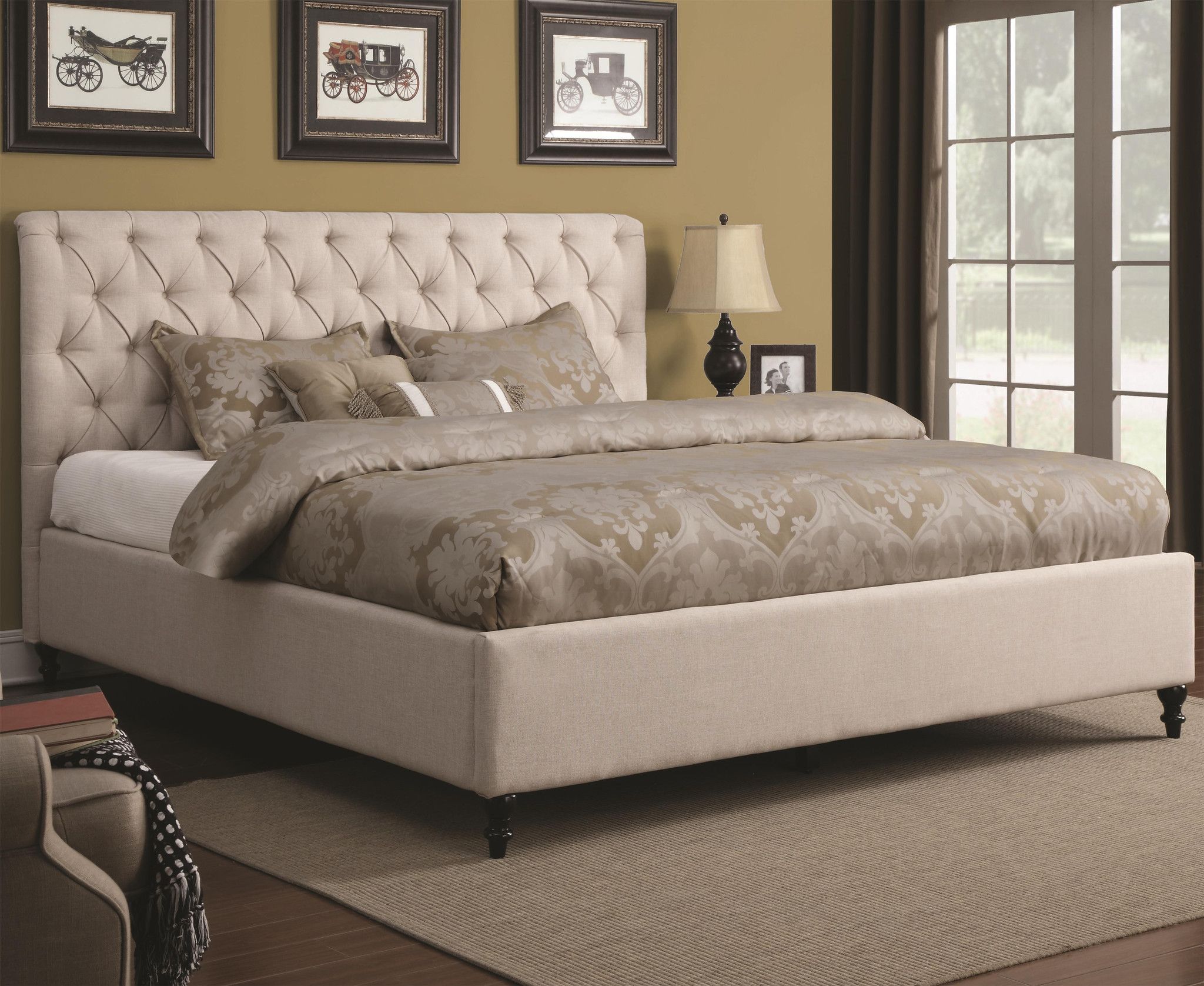 Upholstered Beds Upholstered Bed with Tufted Headboard and