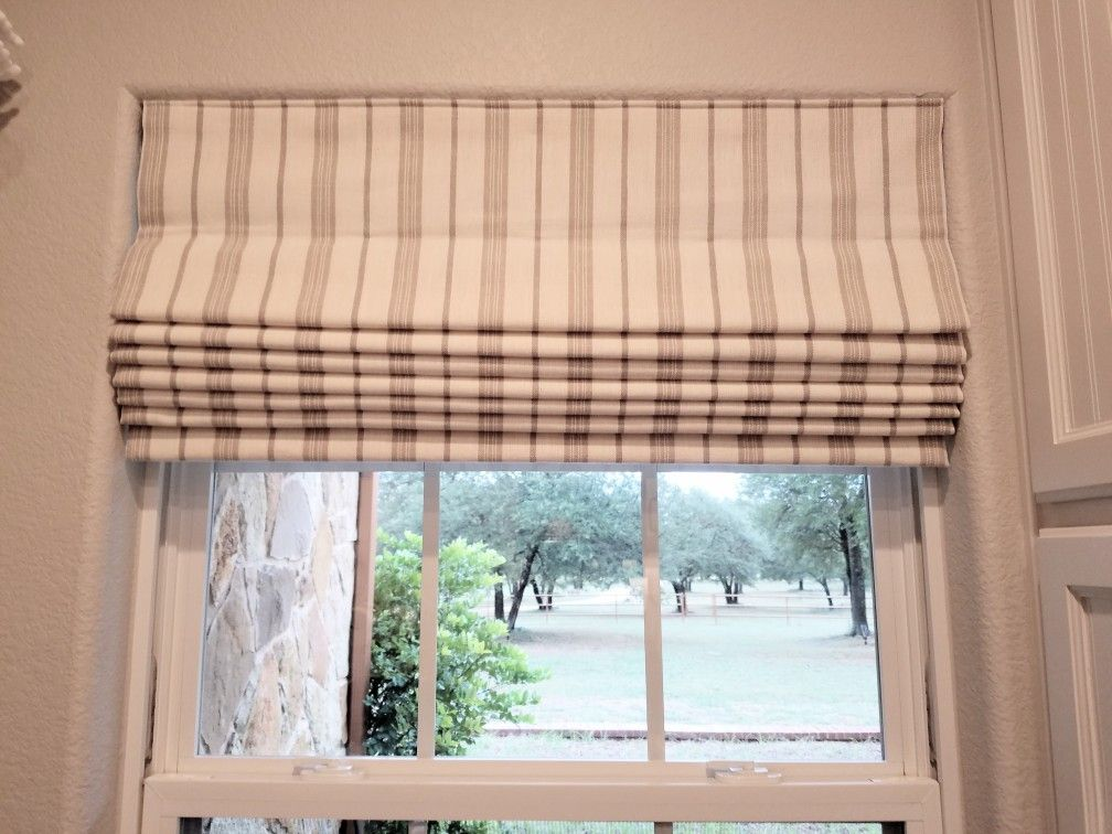Striped Roman Shade In Laundry Room Lift Mechanism Is Rollease Spring Tension System Window Treatments Laundry Room Roman Shades
