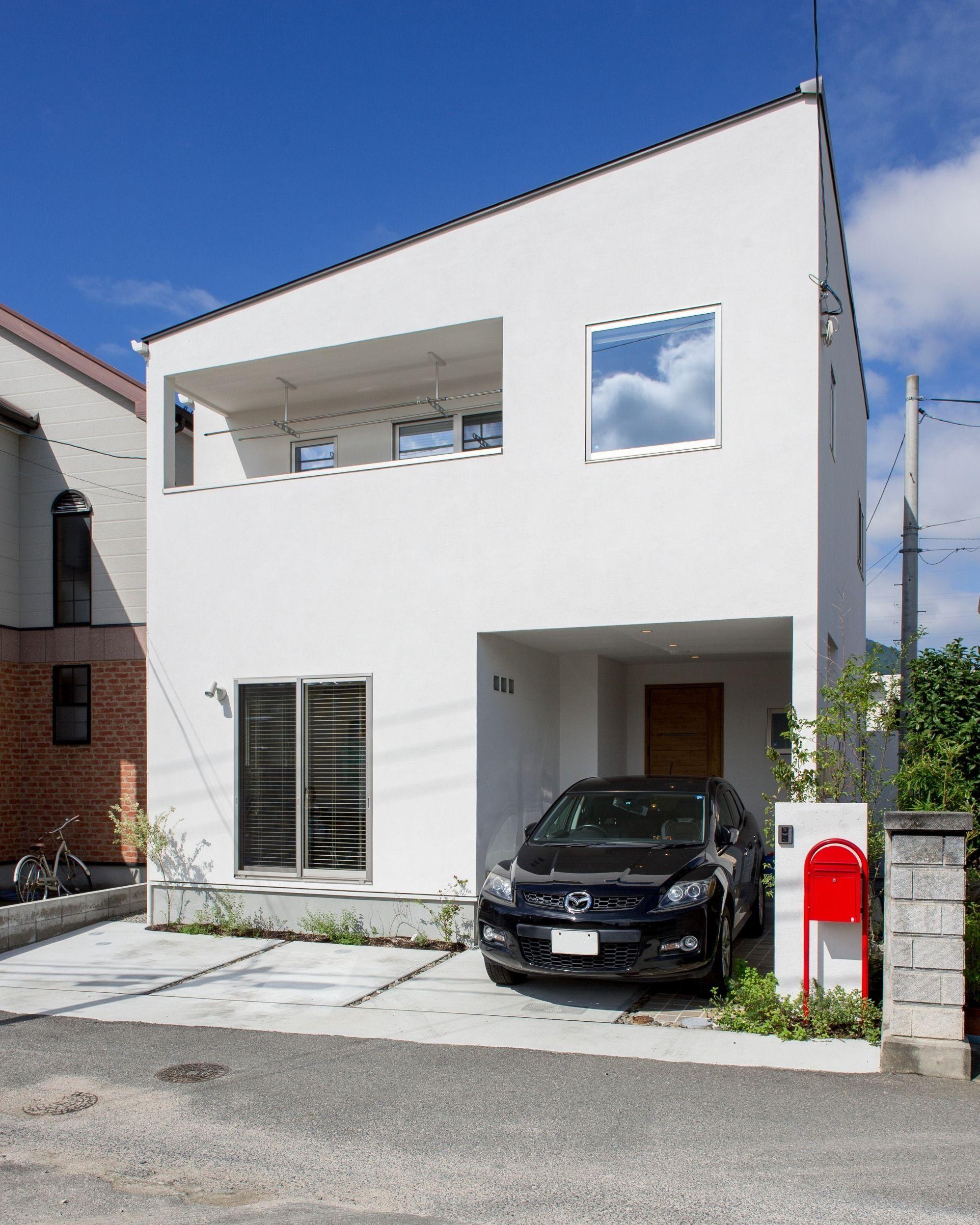 片流れ屋根のインナーバルコニーのお家 安佐南区o様邸 住宅 外観