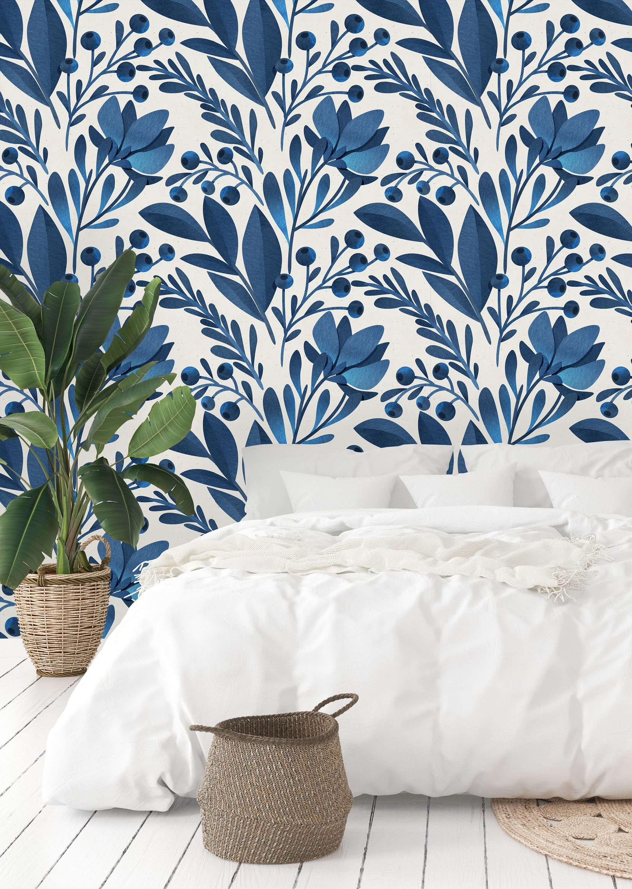 Watercolor Blue Flowers And Leaves Removable Wallpaper Peel Etsy Removable Wallpaper Wall Wallpaper Blue Flower Wallpaper