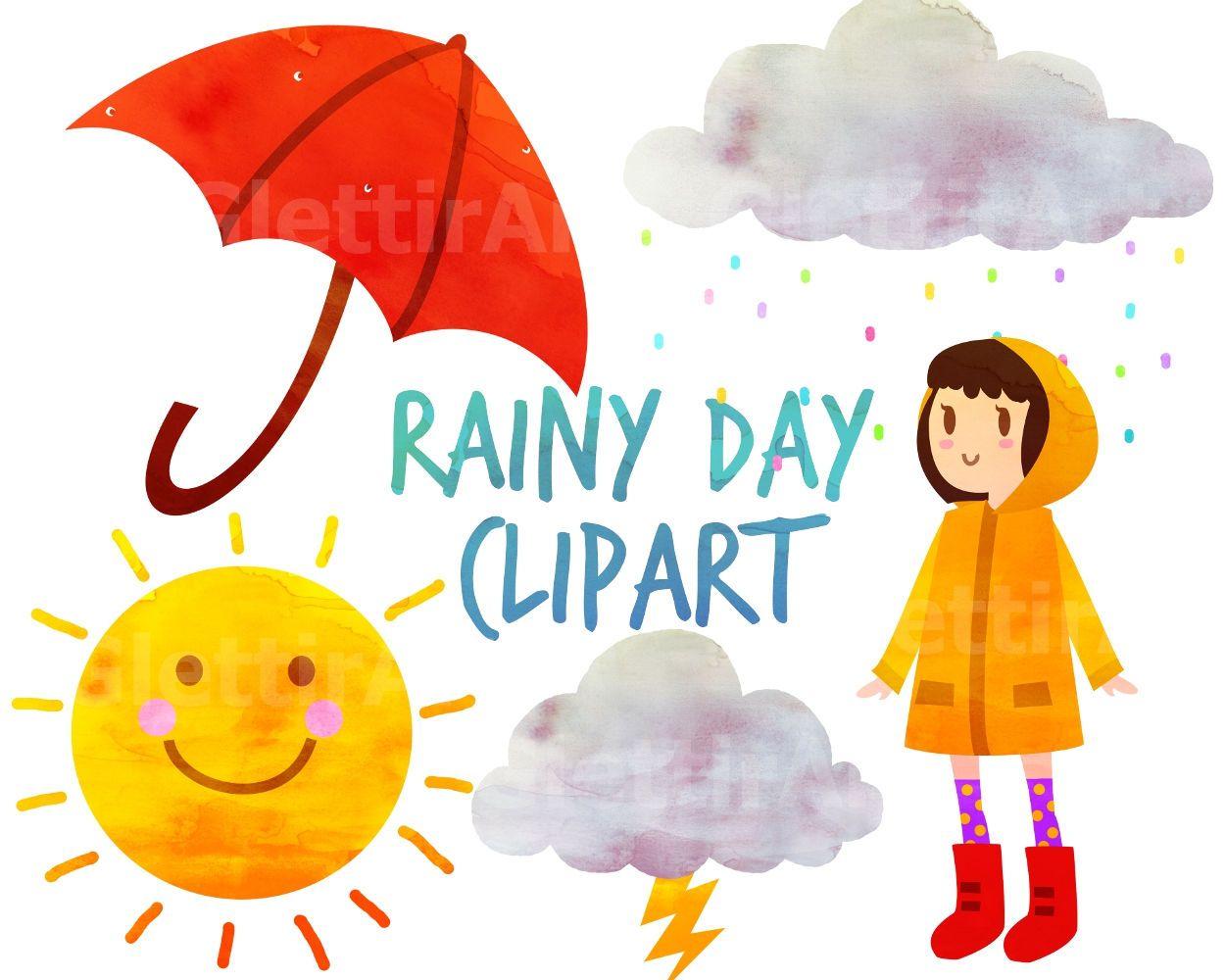 Rainy Day Clipart Weather Clipart Umbrella Clipart For Etsy In 2021 Weather Clipart Clip Art Rainy Day