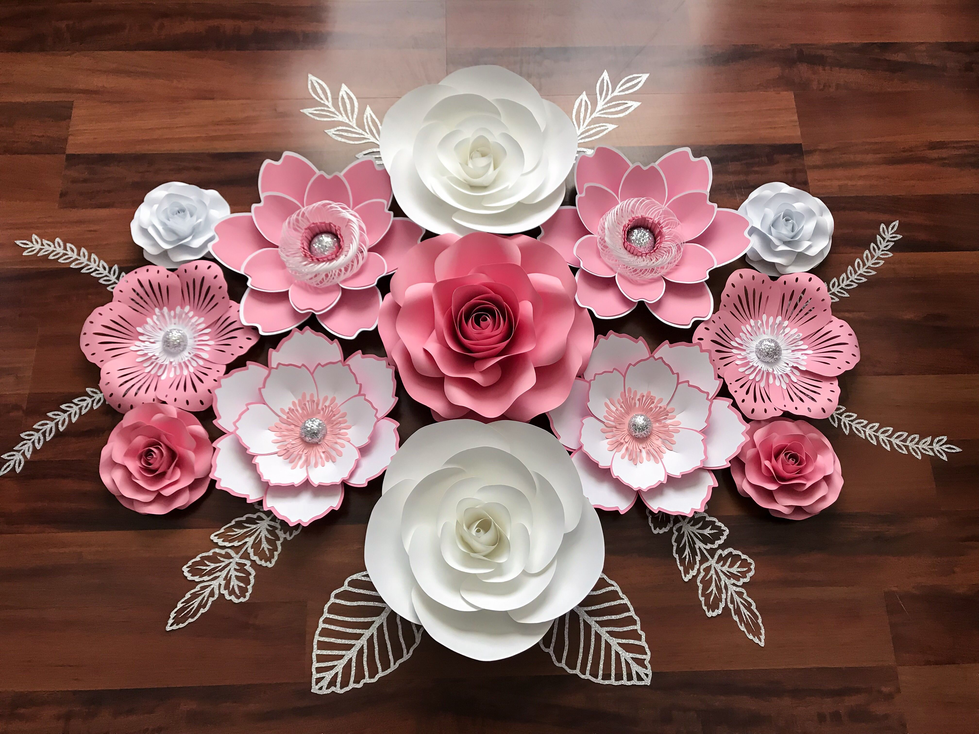 Beautiful paper flower set in pink white and silver paper beautiful paper flower set in pink white and silver paper papercraft paperart izmirmasajfo