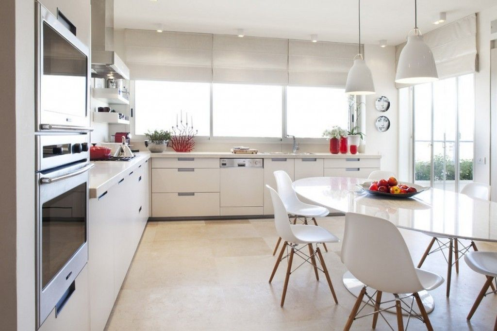 Dining Room Modern White Sleek Kitchen With Glossy White Aluminun Prepossessing White Oval Dining Room Table Inspiration