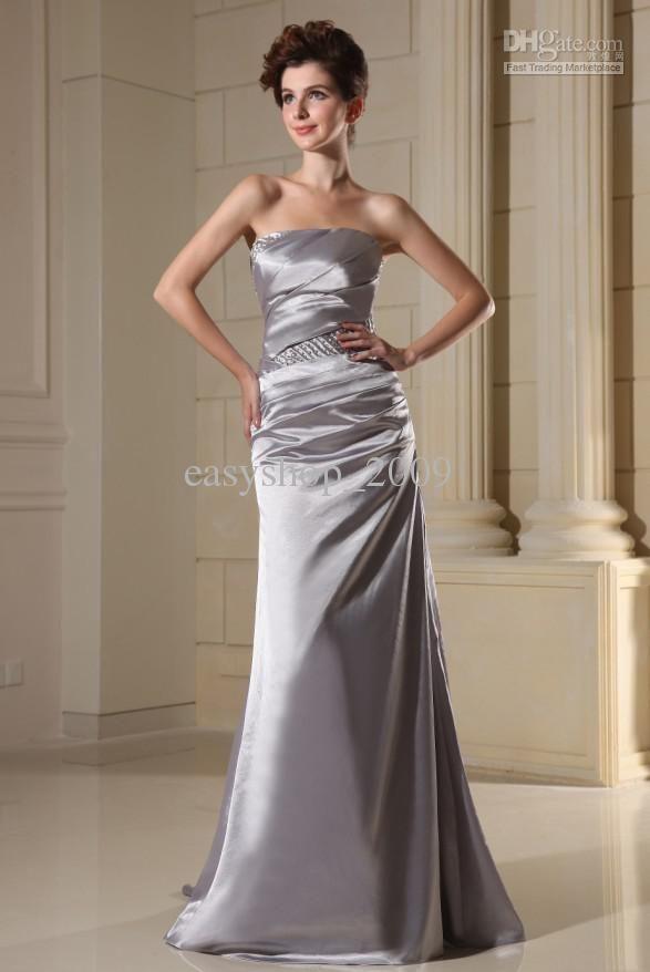 Elegant silver wedding dress sleeveless 587 878 for Dresses for silver wedding anniversary
