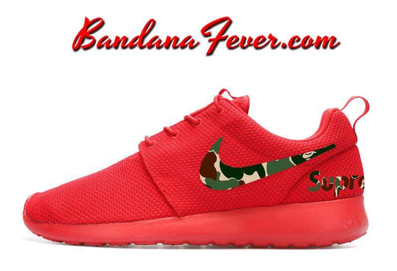 usanza supremo x bape mimetico nike roshe correre le scarpe rosse, bape,