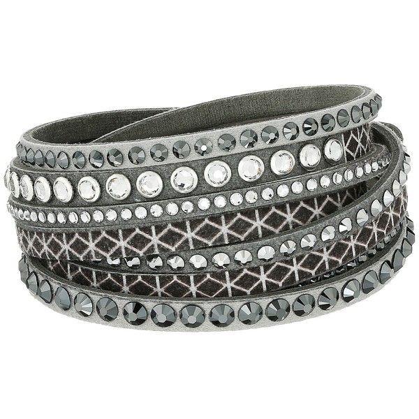 Swarovski Slake Bracelet Print (Gray/Dark Multi) Bracelet ($48) ❤ liked on Polyvore featuring jewelry, bracelets, swarovski jewellery, dark jewelry, snap button jewelry, swarovski bangle and snap jewelry