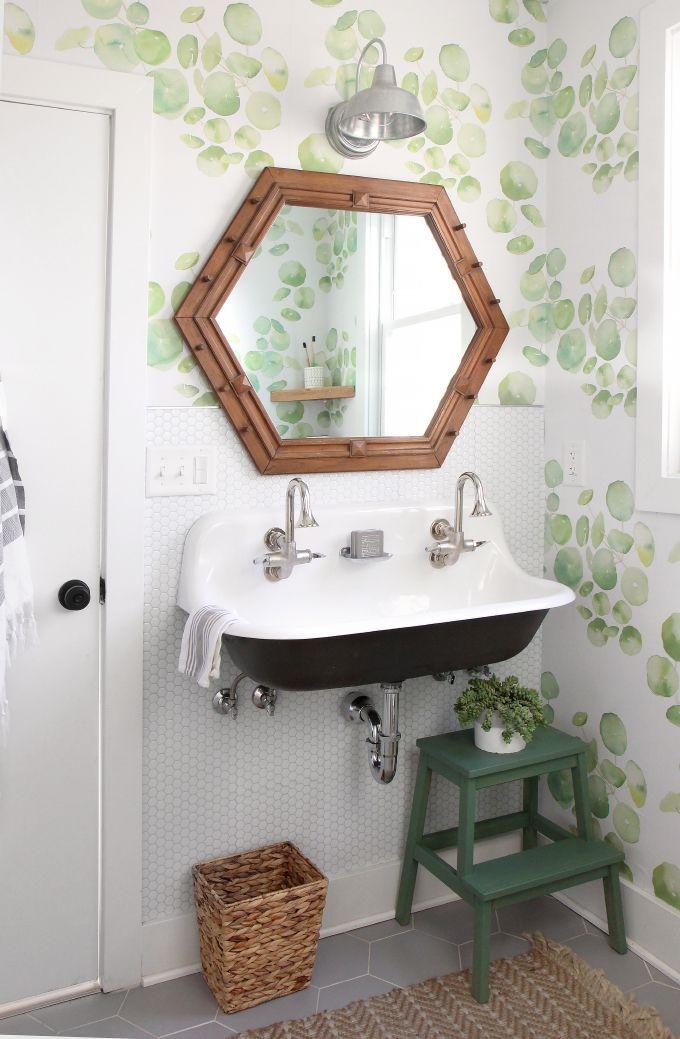 Diy Home Guest Bathroom Makeover With Removable Wallpaper Tile Powder Room Design Bathroom Decor Bathroom Makeover