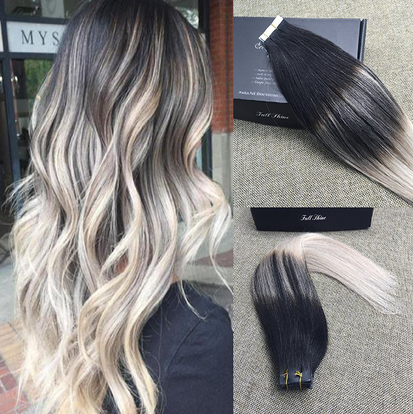 Remy Pu Tape In Human Hair Extensions Ombre Balayage Color Full
