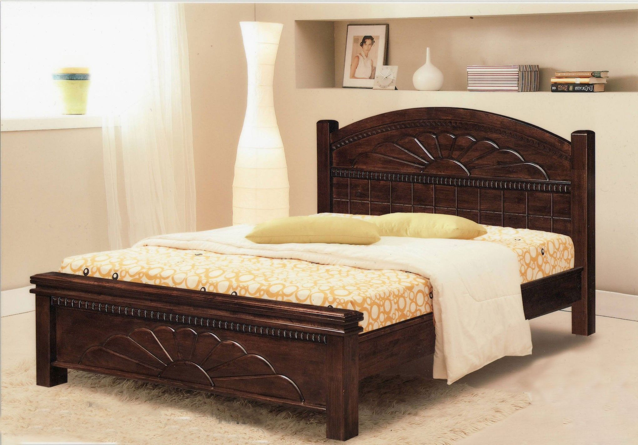 simple double bed designs in wood - HD2040×1425