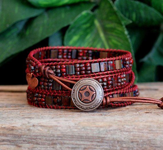 Beaded Wrap Bracelet, Tile Bracelet, Tila Bead Bracelet, Red Miyuki Tila  Bead\u2026