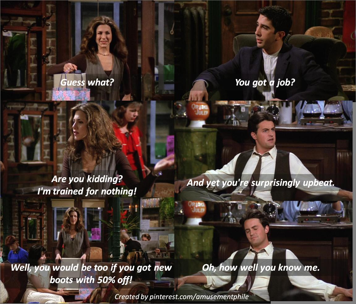Guess what? Rachel Green, Ross Geller, Chandler Bing