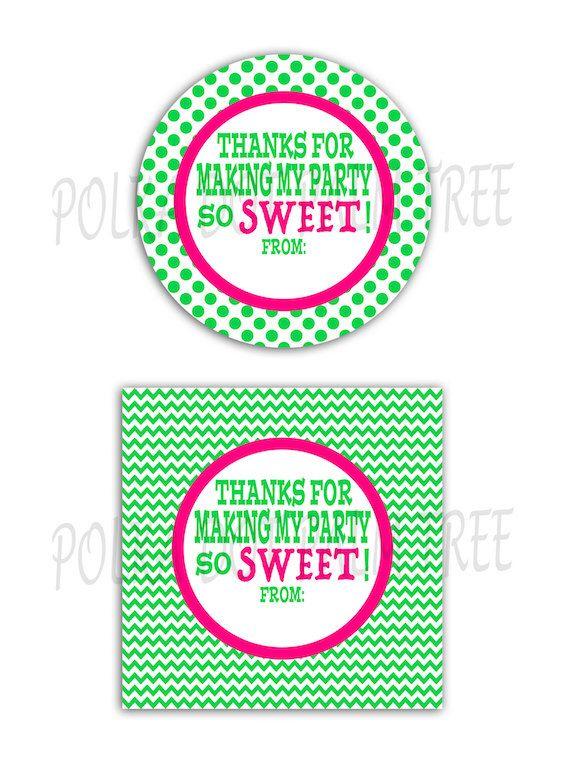 DIY Printable Pink Green Polka Dot Chevron Thanks For Making My