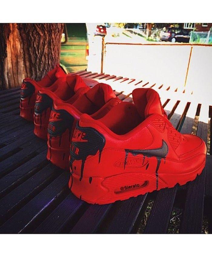 Nike Air Max 90 x Custom Red Satin @sierato | Nike schuhe