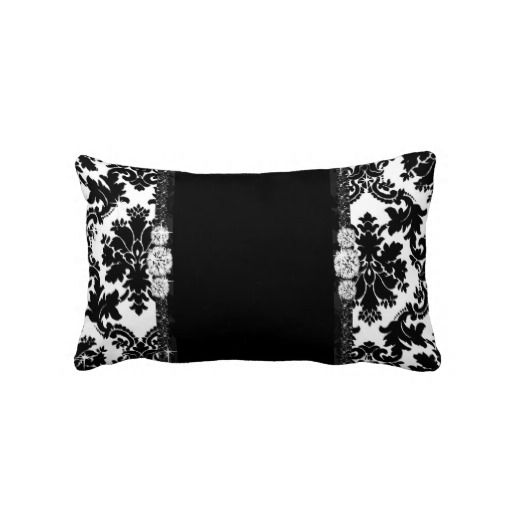 Classic Black and White Diamond Bling Damask Throw Pillow