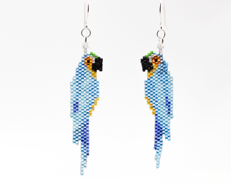 An Blue Shore OOAK dangle beaded earrings
