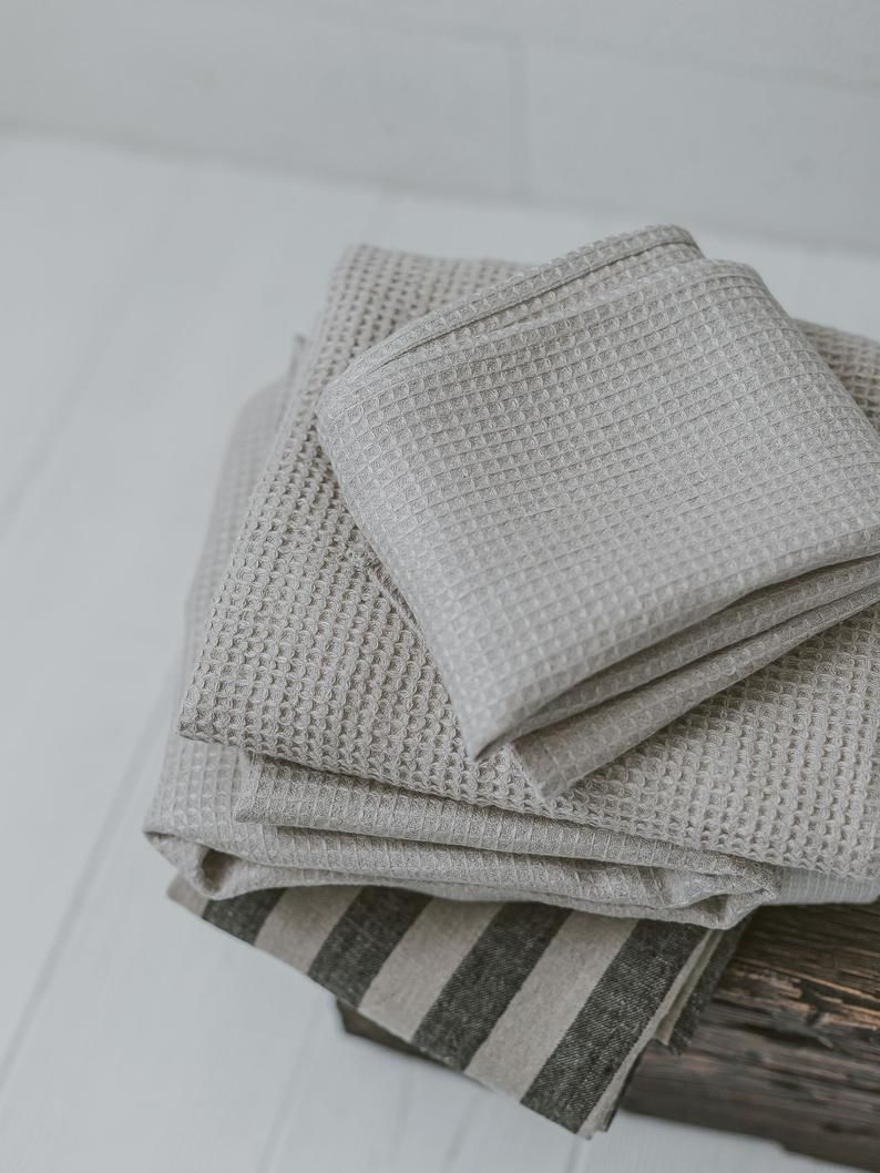 Waffle Linen Towel Linen Bath Towel Travel Towel Natural