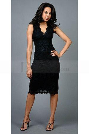 f04da7bc86d3 Tea-length Black Evening Dresses with V Neckline, Quality Unique Mother of  the Bride Dresses - Dressale.com