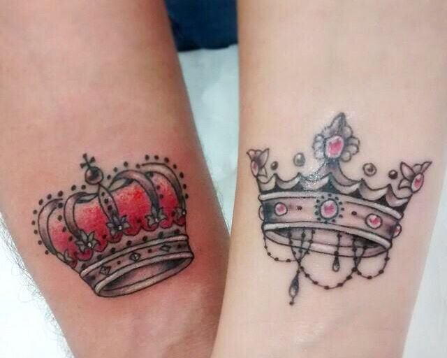 85111f19612c8 His and hers crown tattoos king and queen | tattoos | Queen tattoo ...