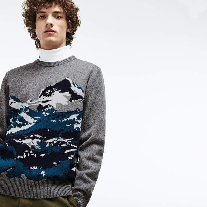 6336cc7281 Lacoste Men's Crew Neck Alpine Print Wool And Cotton Jacquard Sweater
