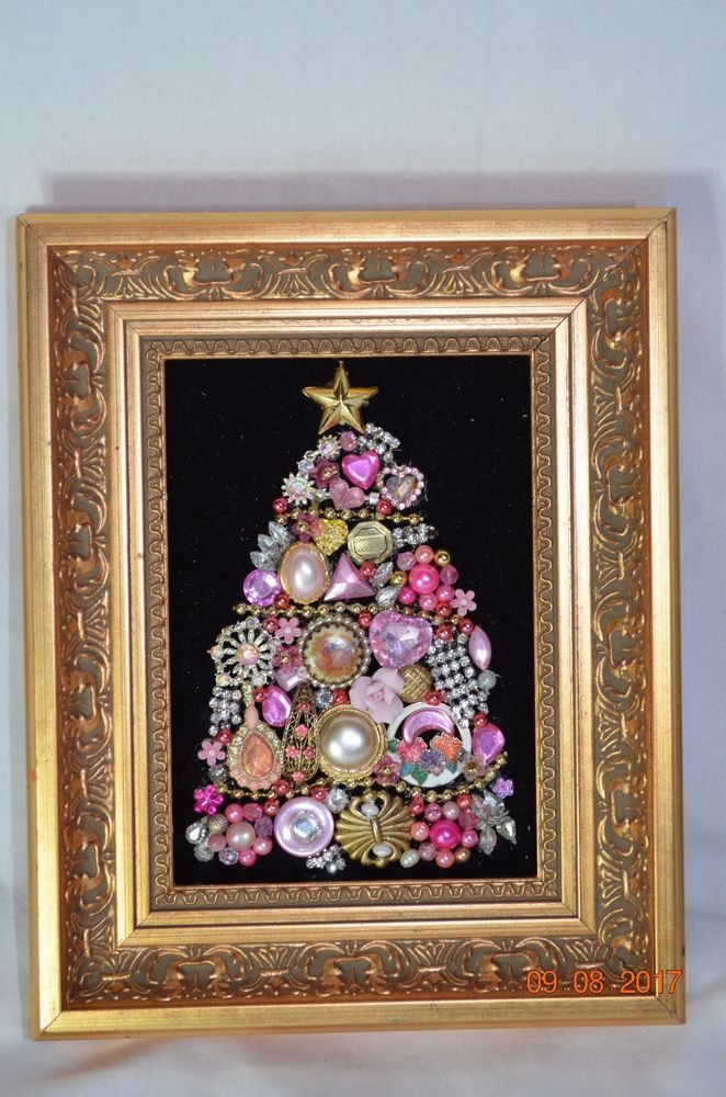 Vintage Jewelry Rhinestone Framed Christmas Tree 12x10 Pink Heavy ...
